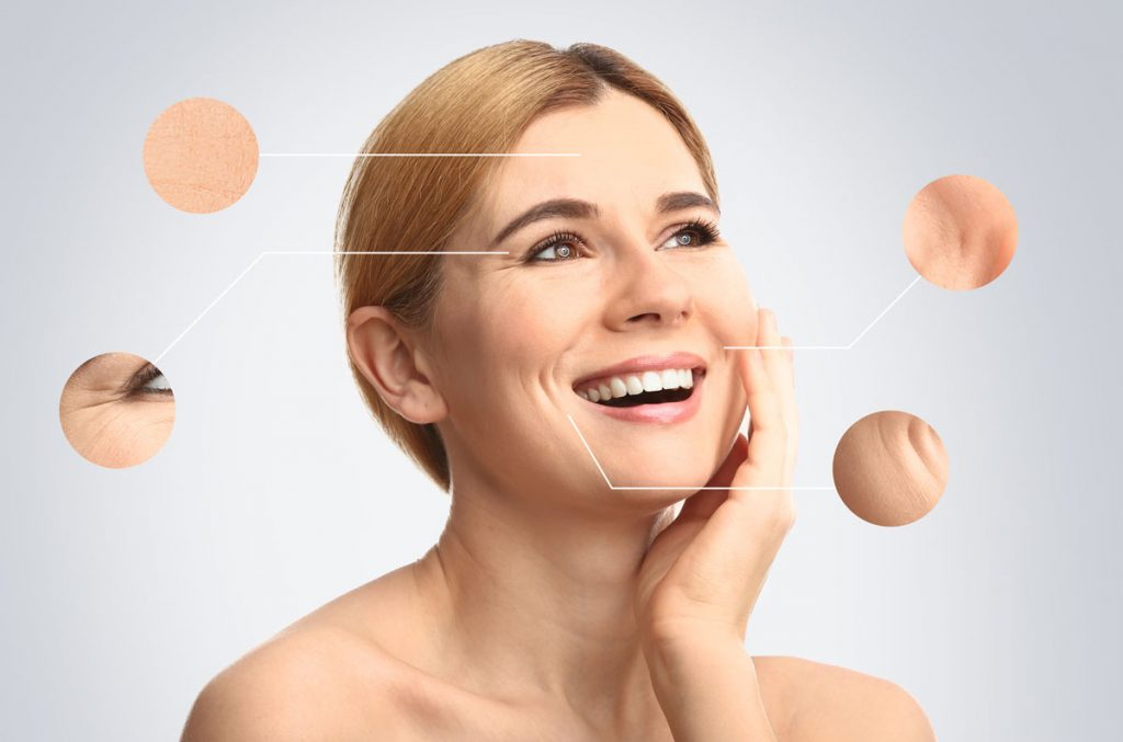 Facial injections with hyaluron filler